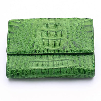Green Crocodile Hornback Skin Womens Wallets