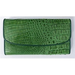 green trifold crocodile skin ladies wallet
