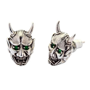 Sterling Silver Japanese Oni Mask Earrings