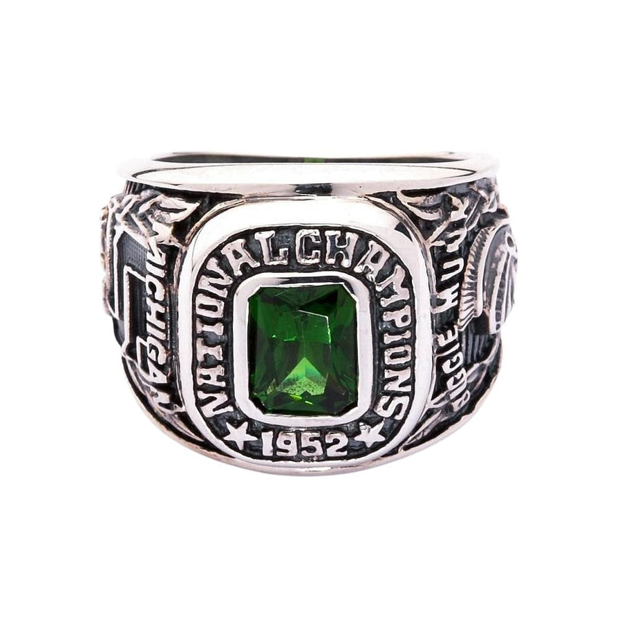 green stone men's ring