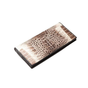 grey crocodile skin long wallet
