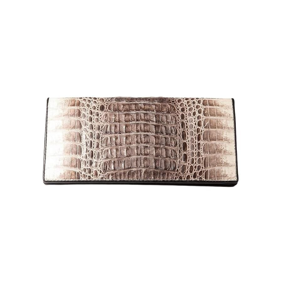 Grey Twotone Hornback Long Crocodile Wallet