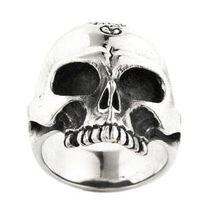 Sterling Silver Mens Half Jaw Skull Ring