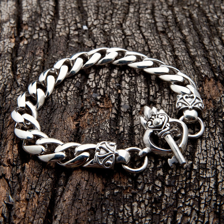 heart key 925 sterling silver bracelet