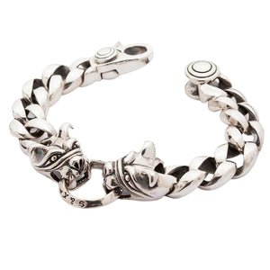dog head sterling men's bracelet