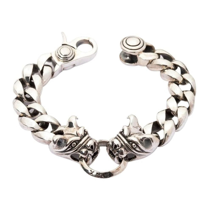 heavy bulldog sterling silver men's bracelet