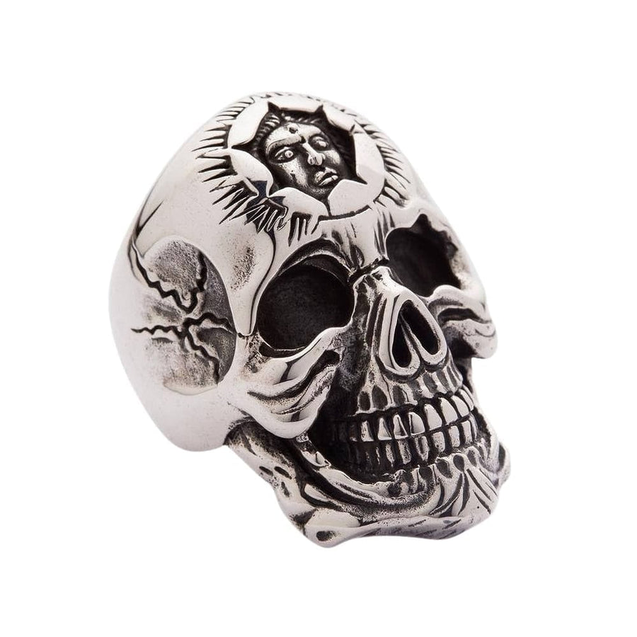 sterling silver sun god skull ring