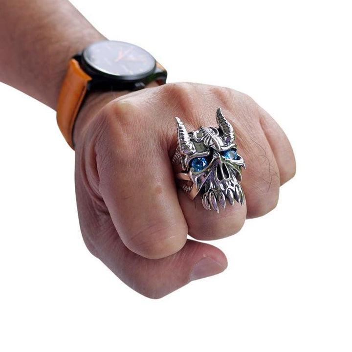 blue eyes horn devil ring