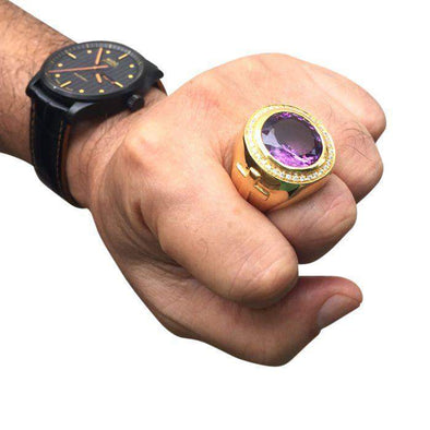 Huge Natural Amethyst Gold Bishop Ring