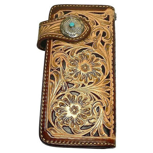 genuine leather indian cowboy wallet