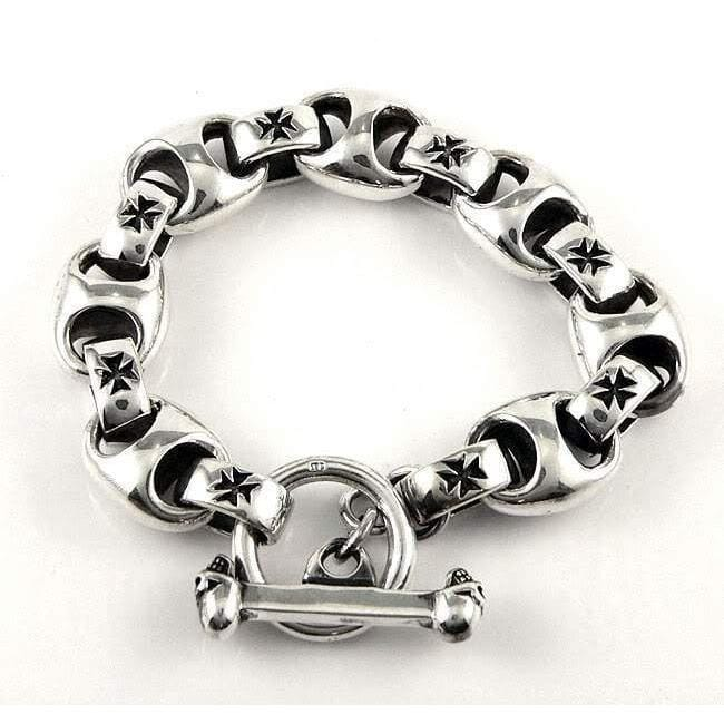 cross link 925 mens silver bracelet