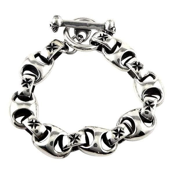 sterling silver iron cross biker bracelet
