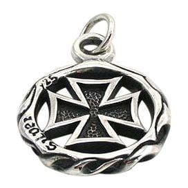 sterling silver iron cross loop pendant