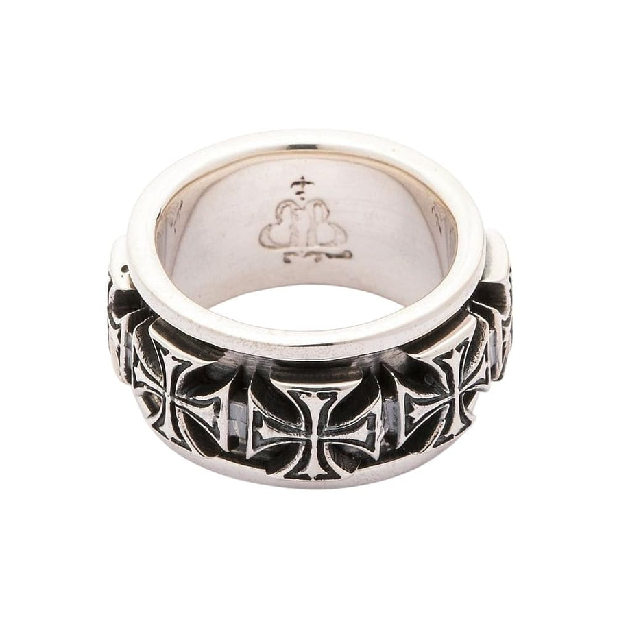 Sterling Silver Iron Cross Spinner Rings