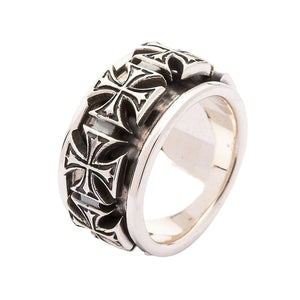 sterling silver iron cross spinner ring
