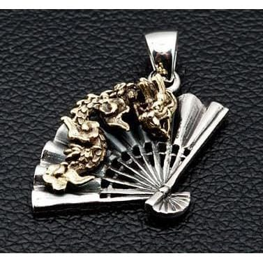 Japanese dragon fan pendant sterling silver pendant bikerringshop japanese dragon fan pendants mozeypictures Images