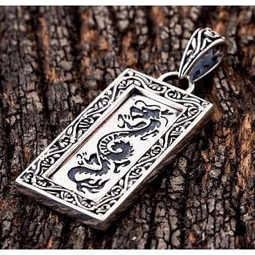 Japanese dragon silver pendant
