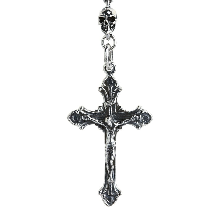 Sterling Silver Skull Jesus Chain Necklace