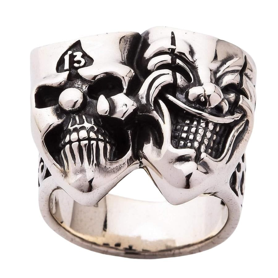 clown silver men's ring