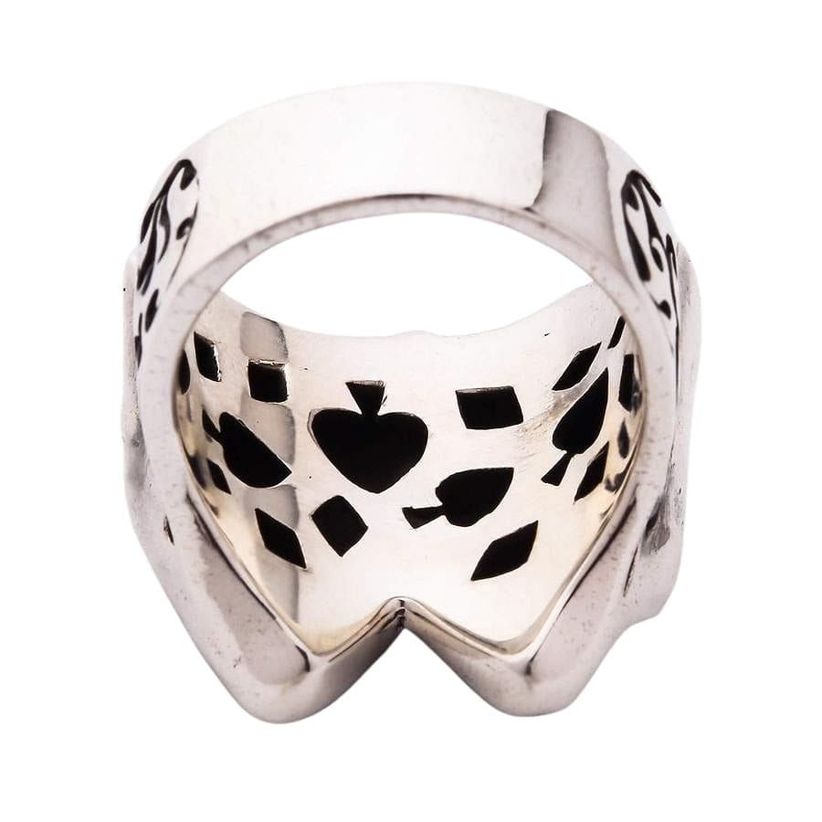 Silver Skull Joker Clown Ring