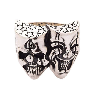 silver joker clown skalle biker ring