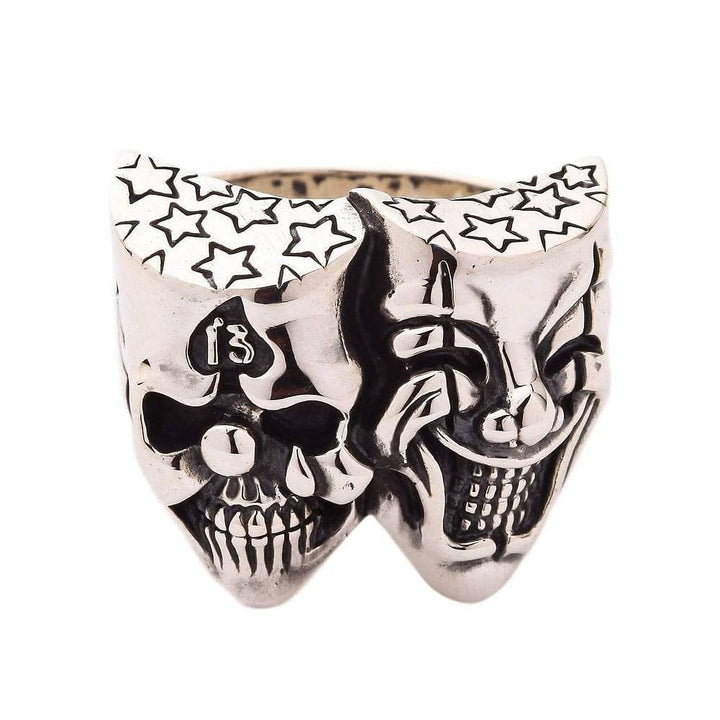 silver joker clown skull biker ring