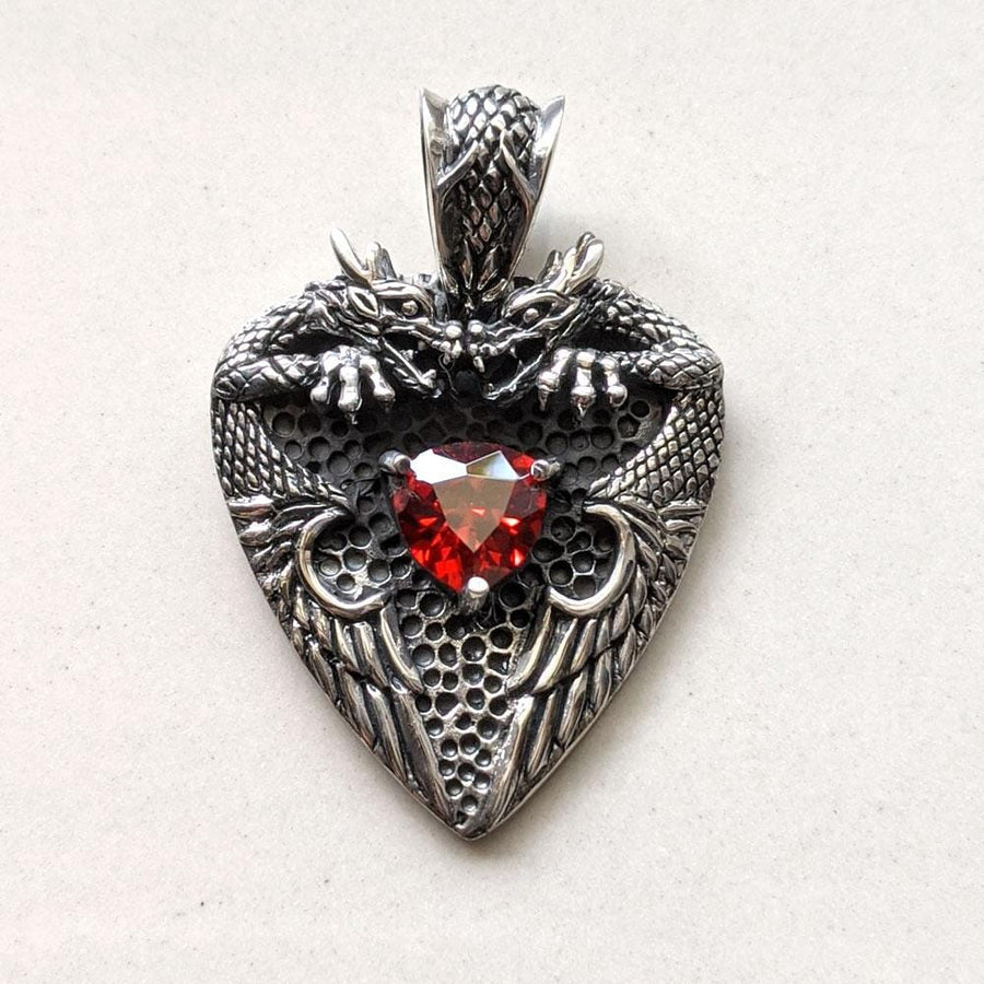 sterling silver knight garnet dragon pendant