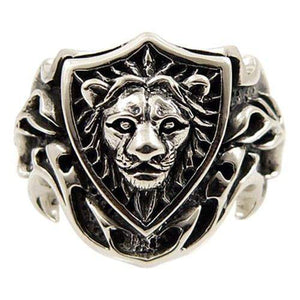 knight shield lion silver ring
