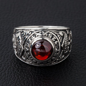 Koi Ruby Silver Mens Ring