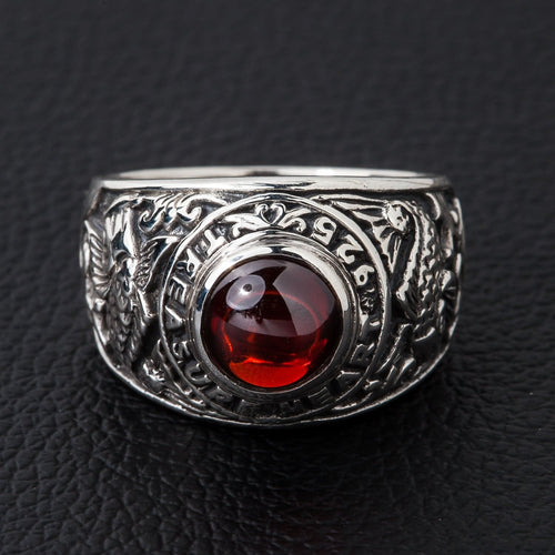 Well known Koi Ruby Mens Ring, Sterling Silver Ring – Bikerringshop UD59