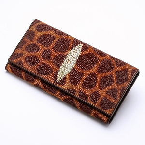 leopard stingray skin leather women's wallet