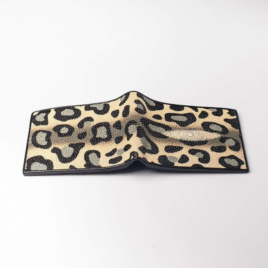 Leopard Stingray Skin Leather Wallet
