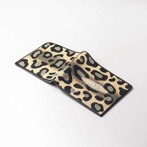 leopard design stingray leather wallet