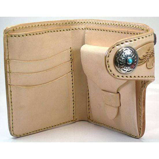 Genuine Leather Light Brown Cowboy Western Wallet
