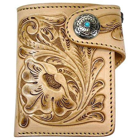 light brown floral western wallet