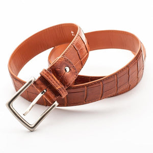 light brown genuine crocodile leather belt for men