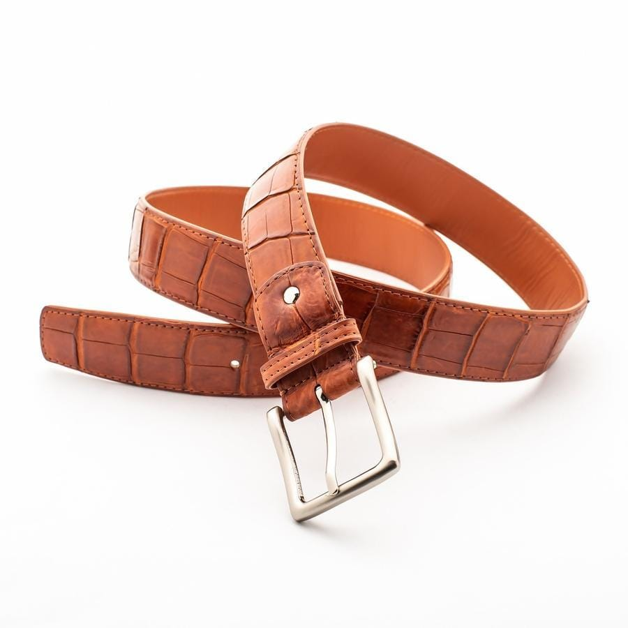 Light Brown Crocodile Alligator Stomach Belt