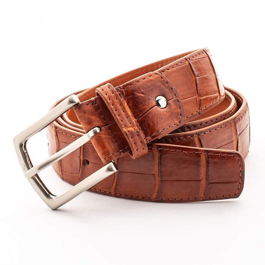 light brown croc alligator belt
