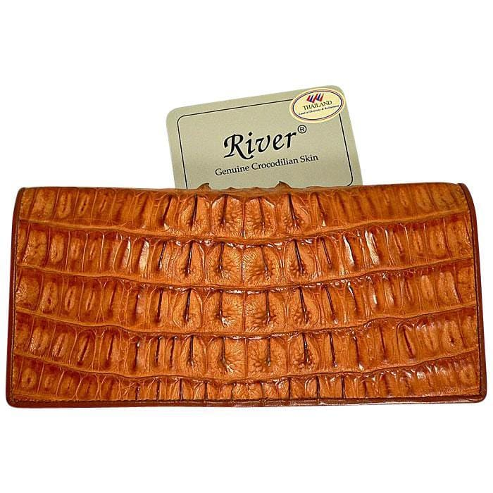 light brown crocodile long wallet