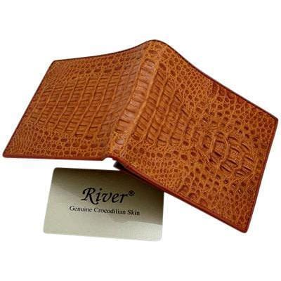 light brown crocodile skin men's wallet