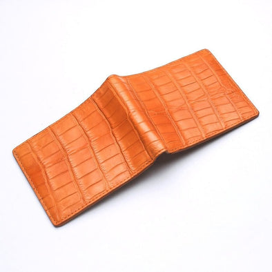 Light Brown Crocodile Stomach Leather Bifold Wallets