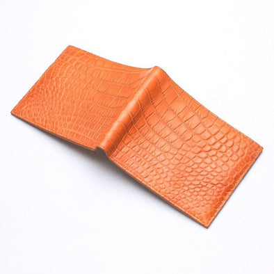 Light Brown Crocodile Stomach Skin Bifold Wallets