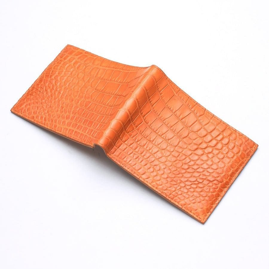 light brown stomach crocodile wallet