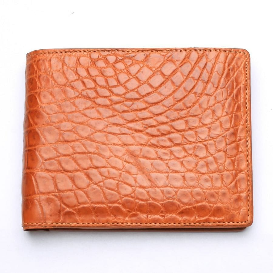 genuine light brown stomach crocodile wallet