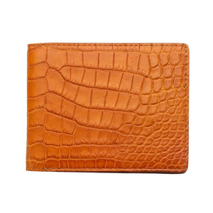 tunay na light brown na crocodile na leather leather wallet
