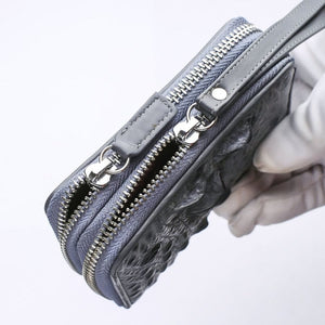 Hellgraue Crocodile Backbone Skin Wallets