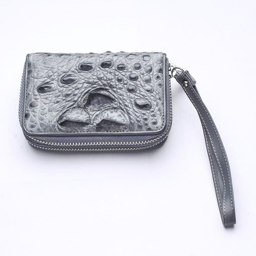 grey real crocodile skin small wallet