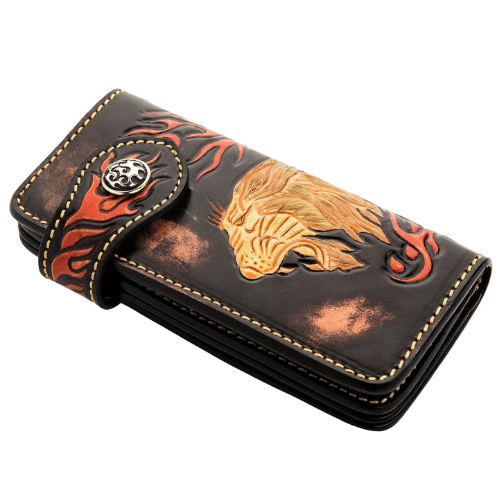 Handmade lion carved leather biker wallet