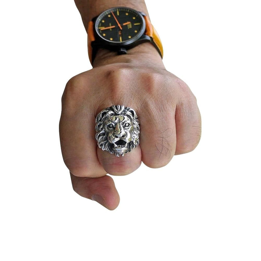 silver lion men's ring
