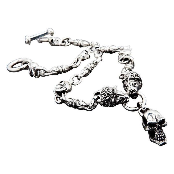 sterling silver lion skull biker necklace